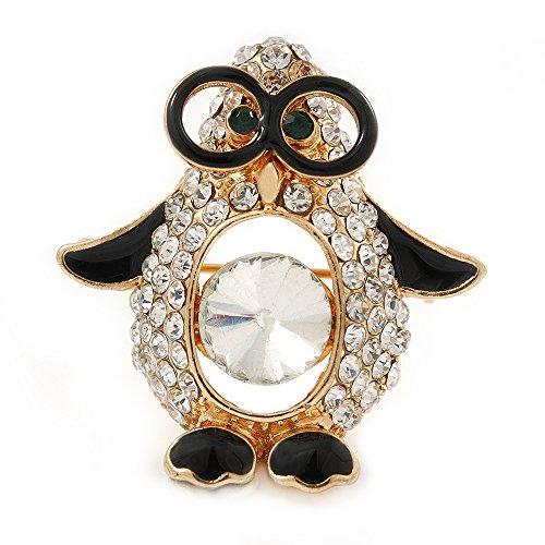 Unbekannt Avalaya Brosche vergoldet Glaskristall Schwarz Emaille Pinguin in den Gläsern 35 mm L