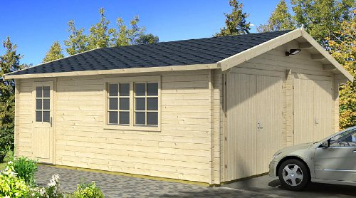 Blockhausgarage D01 - 595x530 cm - 40mm - Carport Gartenhaus - Inkl. Verglasung - Blockhaus-Garage