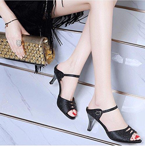 Estate moda donna sandali comodi tacchi alti,40 giallo Black