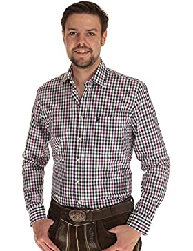 Almsach Herren Hemd langarm Trachtenhemd Herren Hemd kariert mit Krempelarm