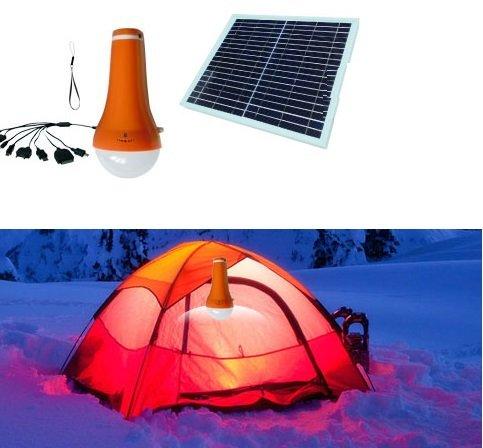 Preisvergleich Produktbild Solarleuchte Laterne LED Akkuleuchte Powerbank 4400 mAh mit Solarpanel Taschenlampe Iphone Ladegerät für Camping und Outdoor I-Lumen®