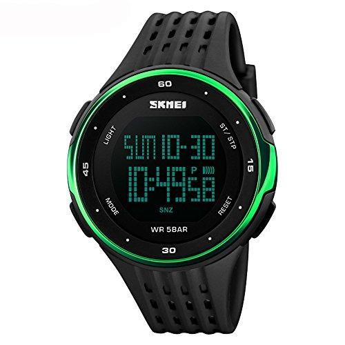 Amstt Herren Multifunktion Wasserdichte Elektronische Uhren Sportuhren Bergsteigen Outdoor-LED-Studenten Sehen Uhr Grün