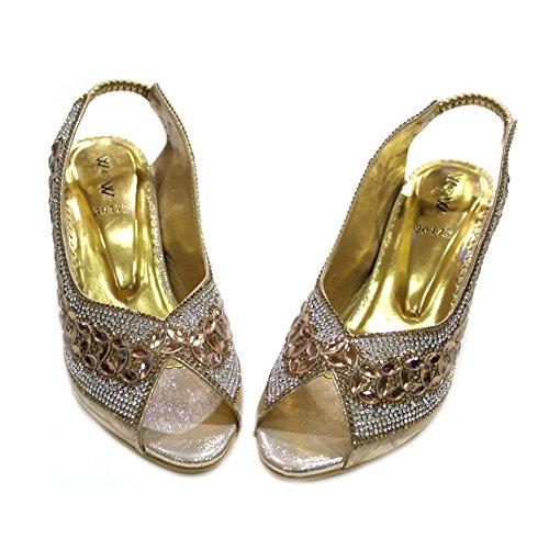 W & W Frauen Damen Abend Fashion Sandale Komfort mit Brautschmuck Hochzeit Party Blockabsatz Schuhe Größe 4–9(Anum) Gold