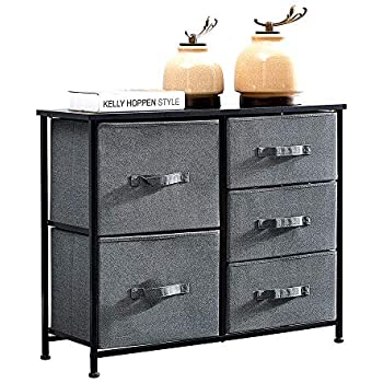 Huisen Furniture Living Room Unit Storage Cabinet with 5 Drawers Long Bedroom Chest of Drawers with Grey Organizer Bins for Kids Room Clothes Toy Collection Nursery Cabinet Sideboard