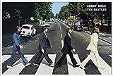 Beatles, The - Abbey Road - Musikposter Foto Classics - Grösse 91,5x61 cm + Wechselrahmen der Marke Shinsuke® Maxi aus Kunststoff weiss - mit Acrylglas-Scheibe.