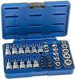 A-TXSET34 Torx Steckschlüssel Satz 34-tlg. Nüsse Set Nusssatz Stecknüsse Biteinsätze Steckschlüsseleinsätze Torxset Torxsatz Innen Außen Werkzeug Antrieb 10mm (3/8