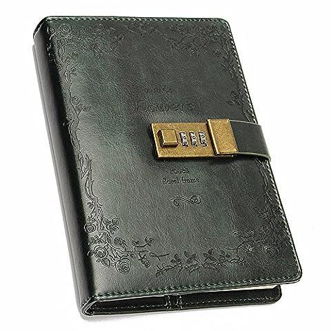 Vintage Diary ordinateur portable B6Taille Cuir PU Journal bloc-notes Agenda organiseur personnel croquis avec serrure à combinaison emplacements de carte Pen Holder B6Taille Mot de passe Agenda bloc-notes 13.7 * 20 * 3 vert foncé