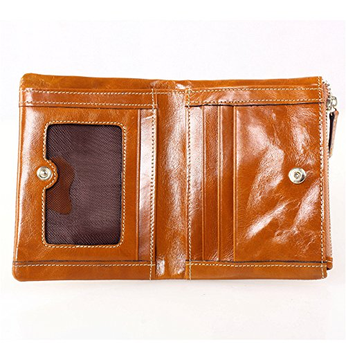 Delle Donne Myleas Compact Raccoglitore del cuoio genuino borsa Bifold breve mini Zipper Coin Rosso