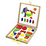 Viga Wooden Magnetic Shapes Blocks Set - Childrens Picture Play Board Toy