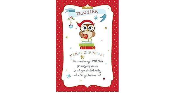 Für sie Lehrer Weihnachten Karte ~ MERRY CHRISTMAS AND A HAPPY NEW ...