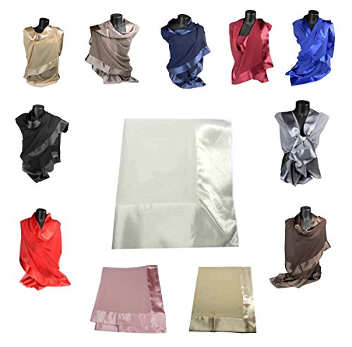 Avantgarde - stola elegante bianca grigio argento beige nera rossa balza raso stole cerimonia (taglia unica, rosa tono cipria)