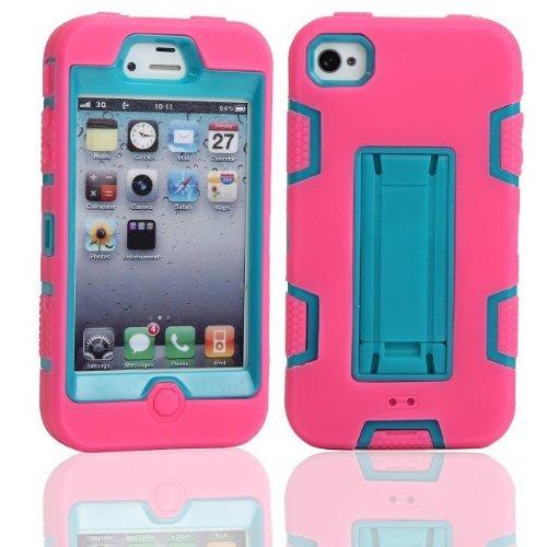 iPhone 4 Fall, iPhone 4S Fall, Lantier Leistungsstarker Schutz [3 In1 Color Mix Design], Hybrid-Fest weichen haltbaren Stoßdämpfer-Kasten-Rüstungs-Kasten rückseitige Cover Case mit Ständer für Apple i Hot Pink-Blue