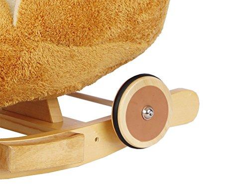 Dunjo® Schaukelpferd Plüsch | Baby Schaukeltier Pony | Für Kinder Jungen Mädchen 1 - 3 Jahre | mit Sicherheitsgurt Rollen und Musik - 2