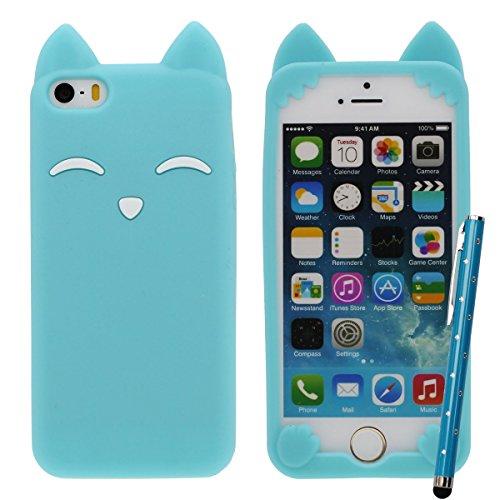 iPhone 5S Case, Mädchen Stil, Karikatur Stil 3D Fuchs Modellieren Silikon Hülle Handy Tasche Schutzhülle für iPhone 5 5S 5C 5G, Bunt Weiche & Elastic Prämie Silikon Cover Case + 1 Stylus pen Hellblau