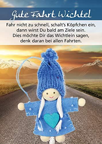 Wichtel Arts Gute Fahrt Glücksbringer, Holz, Blauem Herz, 15 x 10.5 x 2.7 cm - Handliches Buch Lkw