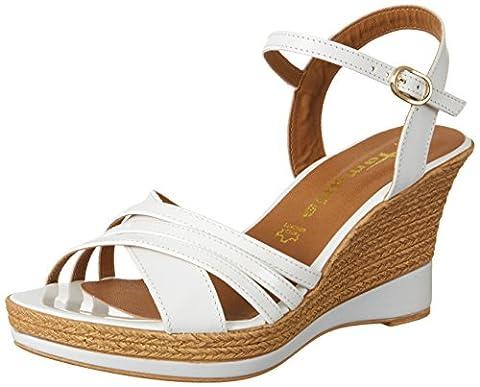 Tamaris Damen 28394 Offene Sandalen mit Keilabsatz, Weiß (White Uni