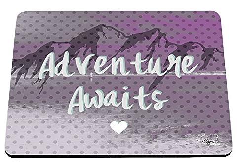 hippowarehouse Abenteuer erwartet Mountain Landschaft bedruckt Mauspad Zubehör Schwarz Gummi Boden 240mm x 190mm x 60mm, rose, (Outdoor Adventures Wallpaper)
