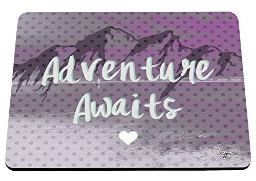 hippowarehouse Abenteuer erwartet Mountain Landschaft bedruckt Mauspad Zubehör Schwarz Gummi Boden 240mm x 190mm x 60mm, rose, Einheitsgröße