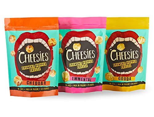 Cheesies Knuspriger gepoppter Käse-Snack, gemischte Schachtel, 3 x Cheddar, 3 x Emmentaler und 3 x Gouda. Ohne Kohlenhydrate, mit hohem Proteingehalt, glutenfrei, vegetarisch, Keto. 9x 60g Packungen.