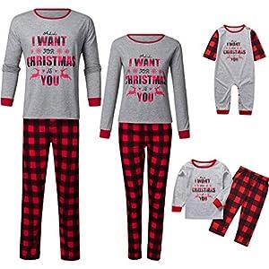 Trisee Conjunto de Pijama Familia de Navidad para Hombre Mujer Niños Bebé, Camiseta Navideña Estampada con Letras… 10