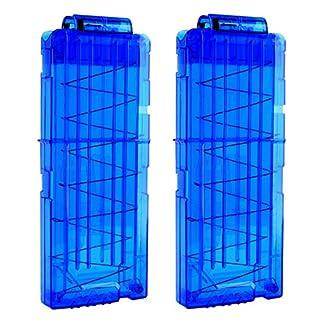 TXXCI 2 Stück Soft Bullet Clip Pistole Clip Reload Clip Magazine für 12 Darts Für Nerf N-Strike Elite Serie Spielzeuggewehre - Transparentes Blau