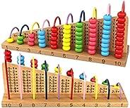 BiaBai Juguetes de Soroban de ábaco de madera multicolor, bloques de estantes de cálculo de conteo para niños,