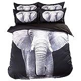 3D Tier Stil Druckmuster Vierteilige Bettwäsche, Super weicher Bettbezug aus Faser(1 Bettdecke+1 Bettlaken+2 Kopfkissenbezüge) (Elefant, 200 * 230cm)