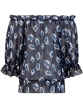 Beauty7 Blusa Corta Gasa Impresiones Florales 3/4 Mangas Camisetas Mujer Verano Vendaje Tops T Shirt Parte Superior...