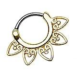 Piersando Piercing Ring für Septum Tragus Helix Ohr Nase Lippe Brust Intim Nasenpiercing Ohrpiercing Clicker Tribal Fächer mit Kristallen Gold 1,2mm