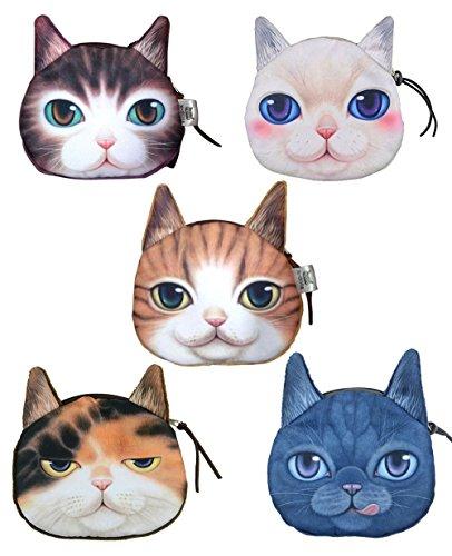 ai-life 3d realista diseño de cara de gato con cremallera para monedas dinero Peluche Monedero cartera bolso de la bolsa bolso de mano