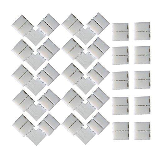 KINYOOO 4 pin L-forma Connettore angolare (10 pezzi), 4 pin Strisce LED spina (10 pezzi) per la luce di nastro adesiva di SMD 5050 RGBW di 10mm.