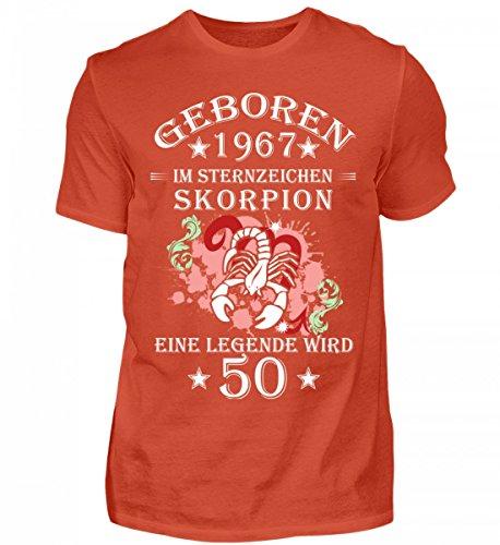 Shirtee Hochwertiges Herren Sternzeichen Skorpion Wird 50 Orangerot