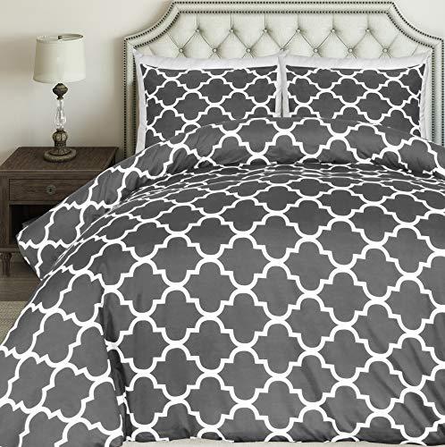 Utopia Bedding Bedrucktes Bettwäsche-Set - Mikrofaser Bettbezug und Kissenbezuge - (200 x 200 cm, Grau)
