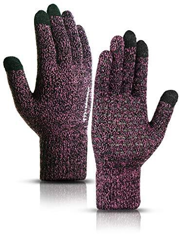 TRENDOUX Handschuhe Damen Touchscreen, Winterhandschuhe Herren zum Handy - Rutschfester Griff - Elastische Manschette - Warm Gefüttert - Dehnbares Material - Strickhandschuhe Handy - Rose L