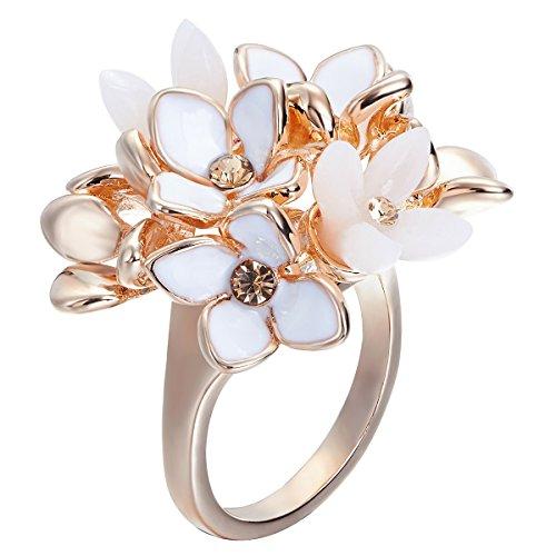 Fappac placcato in oro rosa 18carati cristallo cluster fiore anello Statement arricchito con cristalli (Anello Fiore Crystal Rose)