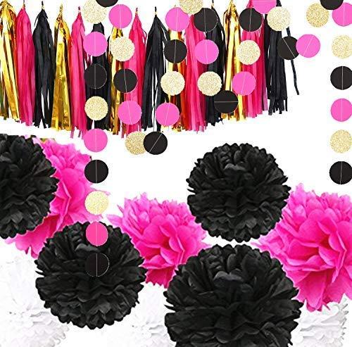 ette Party-Dekorationen Schwarz und Hot Pink - 15 Quasten, 9 Pompons aus Seidenpapier, 4 Kreisgirlanden für Brautpartys, Hochzeiten, Party-Dekorationen ()