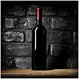 Wallario Sticker/Aufkleber für Kühlschrank/Geschirrspüler/Küchenschränke, Selbstklebende Folie - 60 x 60 cm, Motiv: Rotwein-Flasche am Abend