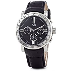 D&G Mens Watch DW0486 Genteel with Black Leather Strap and Black Dial