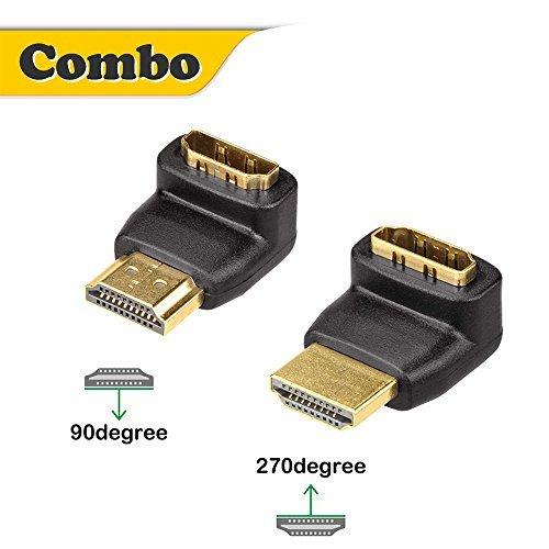 VCE 2 Stück HDMI Adapter HDMI Winkelstecker 90 Grad und 270 Grad 3D&4K HDMI Stecker auf Buchse Adapter HDMI Abgewinkelt Verbinder Vergoldete Kontakte Hdmi Right Angle Adapter