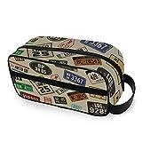 QMIN - Trousse portatile per articoli da toeletta con targhe auto e targhe, borsa da viaggio, multifunzione, per cosmetici e trucchi, per ragazzi e ragazze e uomini