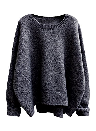 FUTURINO Damen Pullover Winter/Herbst Langarm Lose Oversize Basic Sweater