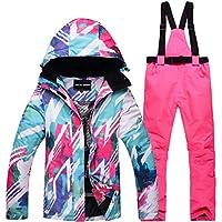 Jiuyizhe Senderismo al Aire Libre Traje de Nieve para Mujer Chaqueta de esquí de Invierno y Pantalones Conjunto de Traje de Nieve (Color : 01, Size : XL)