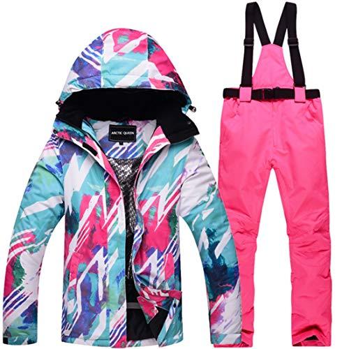 WAVENI Senderismo al Aire Libre Traje de Nieve para Mujer Chaqueta de esquí de Invierno y Pantalones Conjunto de Traje de Nieve (Color : 01, Size : M)