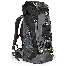 Zaino da Escursionismo Impermeabile Zaino Trekking 65L Extra Large Leggero da Trekking Campeggio Viaggio Zaino Antistrappo (Nero)
