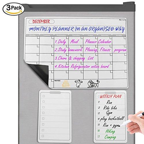 Magnetisches Whiteboard Kühlschrank Kalender - Einkaufsliste Magnettafel mit Wochenplaner Familie Menü Mahlzeit Planer, Notizen, Memo beschreiben und wegzuwischen mit starkem Magnet von - Mini-kühlschrank-kalender