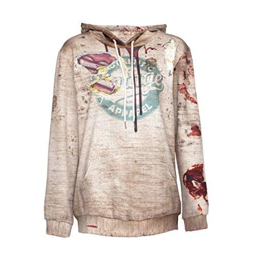 OYSOHE Halloween Sweatshirt Damen Brief Print Langarm Party Pullover Bluse mit Kapuze Sweatshirt(Beige,XL)