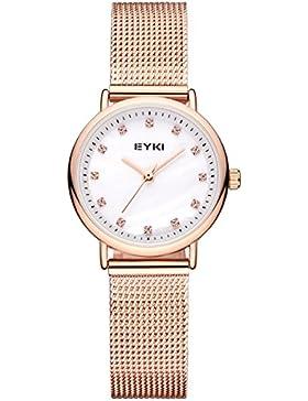 Alienwork Quarz Armbanduhr elegant Quarzuhr Uhr modisch Perlmutt Metall weiss rose gold YH.D5001S-03