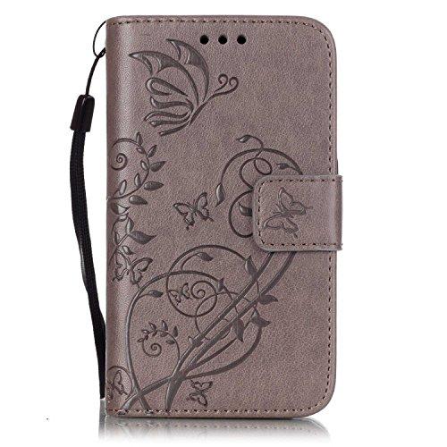 Prägen Blumen-Case, Magnetverschluss Synthetische PU-Leder-Kasten-Abdeckung mit hängenden Seil und Wallet-Funktion für Samsung S2 I9100 ( Color : Pink , Size : Samsung S2 I9100 ) Gray