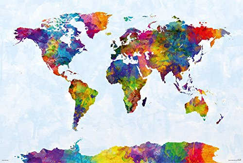 Close Up Watercolor World Map Poster Michael Tompsett (91,5cm x 61cm) - Weltkarte Michael Tompsett