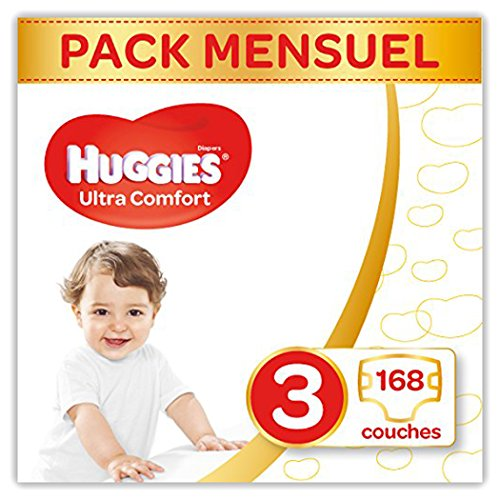 Huggies Ultra Comfort - Couches Bébé unisexe - Taille 3 (4-9 kg) x168 Couches - Pack 1 mois de Consommation